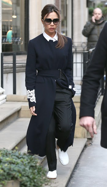 LONDON, ENGLAND - FEBRUARY 23: Victoria Beckham seen leaving her store on Dover St on February 23, 2016 in London, England. (Photo by Neil Mockford/GC Images)