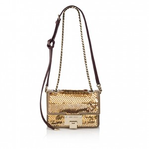 REBEL SOFT MINI SUEDE WITH METAL PAILLETTES EMBROIDERY NUDE GOLD