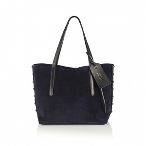 SARA M ROCK GRAINY LEATHER SUEDE BLACK NAVY by Jimmy Choo